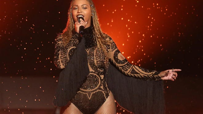 """Beyonce performs """"Freedom"""" at the 2016 BET Awards in Los Angeles."""
