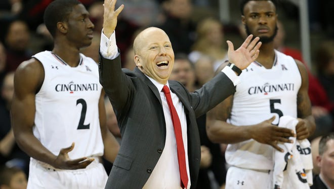 Cincinnati Bearcats head coach Mick Cronin complains to an official in the second half during the NCAA basketball game between the Southern Methodist Mustangs and the Cincinnati Bearcats, Sunday, Jan. 7, 2018, at BB&T Arena in Highland Heights, Kentucky. Cincinnati won 76-56.