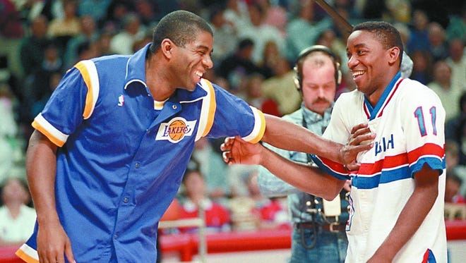 Magic Johnson had two years on Isiah Thomas and five NBA championships under his belt before the Pistons won their first. But the two were friendly rivals from the time Thomas entered the league in 1981, and a smooch before games became their trademark.