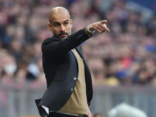 Pep Guardiola, entrenador del Manchester City, parece