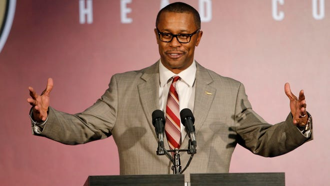 Florida State Seminoles head football coach Willie Taggart speaks to the media at Doak Campbell Stadium on Dec. 6, 2017, during his introductory press conference.