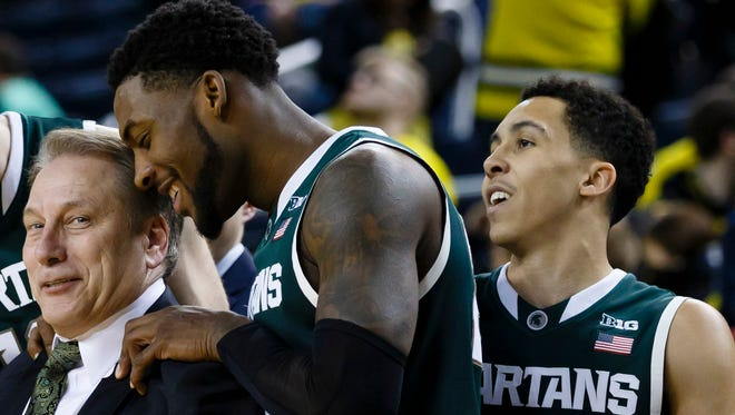 Branden Dawson and Travis Trice will play for coach Tom Izzo at Breslin Center one last time Wednesday.