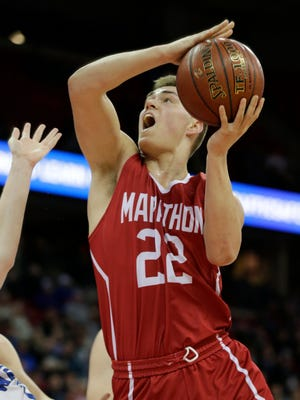 Marathon's Nathan Stoffel goes up for a shot on the inside.  Marathon won 61 - 38.  Marathon Red Raiders played against Clear Lake Warriors in the WIAA Division 4 boys basketball semi-final State Tournament, Thursday, March 15, 2018, held at the Kohl Center on the campus of University of Wisconsin, Madison, Wis.