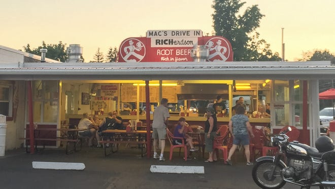 Mac's Drive-In is one of just a handful of drive-ins that still has its red Richie root beer sign on its roof.