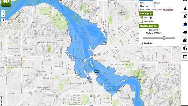 This screen shot of an interactive flood inundation map shows the level of flooding in Cedar Rapids when the level of the Cedar River rises to 24 feet. The interactive map is is part the Iowa Flood Information System made available through www.iowafloodcenter.org, the website for the Iowa Flood Center at the University of Iowa.