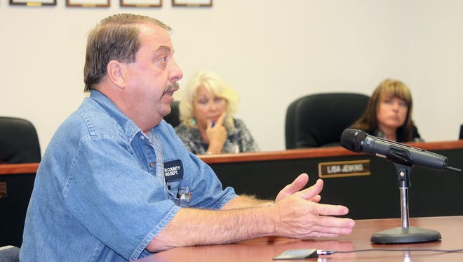 Otero County Road Superintendent Steve Quappe discusses road conditions in Timberon at the June 8 regular Otero County Commission meeting.