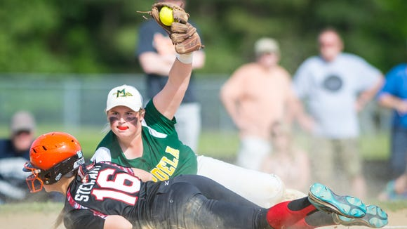 Mardela third base Kasey Goshorn (5) makes the tag at third on a Saint Michaels runner attempting to reach in the 1A East Region Finals at Saint Michaels High School on Friday, May 20.