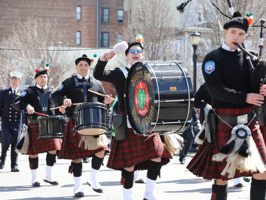 The Yonkers Fire Department Pipes and Drums perform