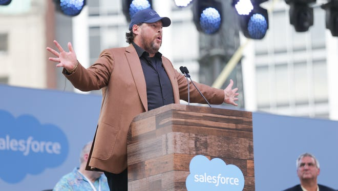 Salesforce CEO Marc Benioff speaks during the opening celebration of the new Salesforce Tower on Monument Circle in Indianapolis, Saturday May 20, 2017.