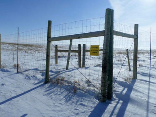 This Feb. 5, 2017 provided by Robert Magnan shows the boundary of a 320-acre animal quarantine on Montana's Fort Peck Reservation that is not being used because of a dispute between the tribes and state livestock officials. Yellowstone National Park has started shipping hundreds of wild bison to slaughter for disease control as a quarantine facility that could help spare many of the animals sits empty because of a political dispute. Park officials said 15 bison originally slated for the quarantine on the Fort Peck Reservation were instead loaded onto trailers Wednesday, Feb. 8 and sent to slaughter. Hundreds more will be shipped in coming days. Transferring bison to the quarantine is opposed by Montana officials.
