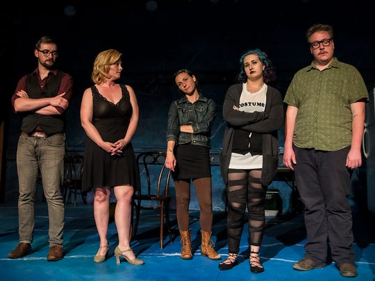 """The """"Stupid ... Bird"""" cast includes, from left, Steven Samuels, David Anthony Yeates, Tracey Johnston-Crum, Josephine Thomas, Samantha LeBrocq, Dwight Chiles and Allen T. Law."""