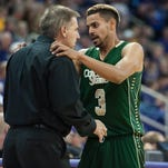 CSU coach Larry Eustachy talks to Gian Clavell, the Rams' leading scorer at 19.3 points a game, during a break in the Rams' win Nov. 14 at Northern Iowa.