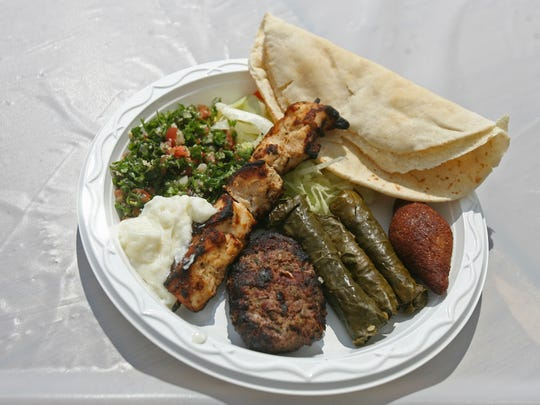 A plate of Lebanese cuisine awaits a hungry customer during the St. Sharbel Lebanese Festival in Somerset.