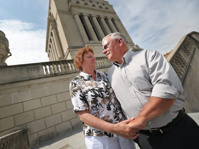 Barb and Jeff Sexton pose for a photo at the Indiana War Memorial, Wednesday, May 28, 2014.  Sen. Joe Donnelly held a press conference to discuss the committee passage of his bill to address military suicides, called the Jacob Sexton Military Suicide Prevention Act of 2014.  The Senate Armed Services Committee has voted to include his legislation as part of the 2015 National Defense Authorization Act.  The Sextons' son, Jacob, an Indiana National Guardsman, killed himself on a 15-day leave from Afghanistan in 2009.