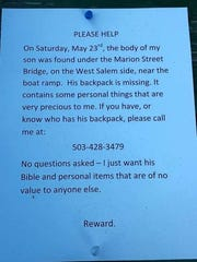 Posters have been placed near the Marion Street Bridge to help find Zachary Agee's backpack.
