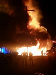 Two historic buildings burned in Port Gibson Monday night.