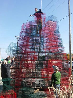 A collection of crab pots is going to be a holiday attraction in Crisfield. The tree lights Nov. 28 and is on display through the holidays.