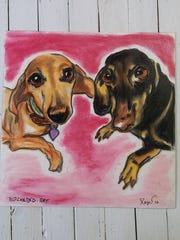 Ralph Reyes often does commissioned work, like this portrait of Las Crucen Sharlee Eagle's winsome dachshunds.