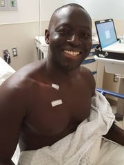 Christian Diompy had a port installed in to his chest the first week of December to start receiving chemotherapy for esophageal cancer.
