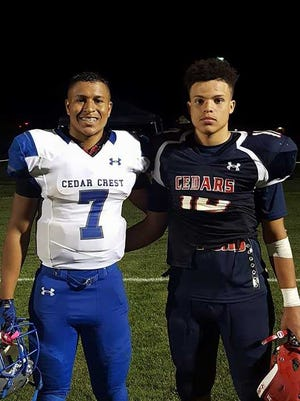 Cousins AJ  Apple of Cedar Crest, left, and James Apple of Lebanon will face each other in the Cedar Bowl for the third straight year on Friday night.