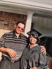 Loretta Hudson and husband Calvin before a ULM graduation.