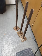 These poles are some of the objects Bahri hurled at Monterey County Sheriff's deputies Tuesday.