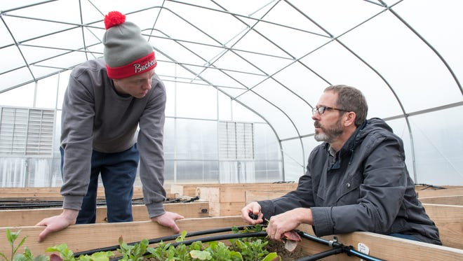 Kip Curtis, assistant professor and Tyler Arter, alum in hat, who is a support assistant for the Microfarm Mansfield Campus Ohio State Alumni Magazine, work with vegetables being grown on campus.