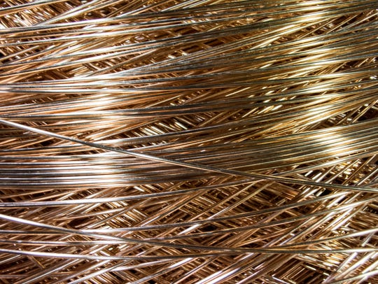Copper wire sits in the Belden Wire & Cable manufacturing