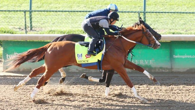 Hence and Local Hero (inside) - both trained by Steve Asmussen - work out Monday morning at Churchill Downs.