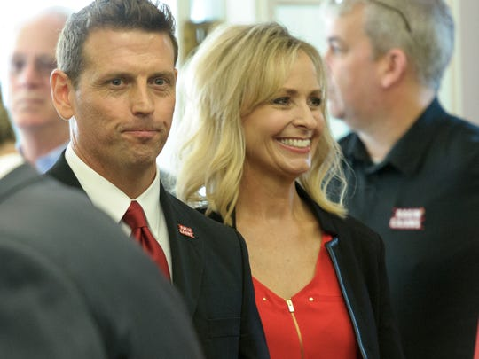Bryan Maggard, accompanied by wife Kerry, was introduced as UL's athletic director on Feb. 1, 2017.