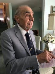 Tinton Falls Mayor Elect and World War II Veteran Vito Perillo, 93, in his home in Tinton Falls on Nov. 8, 2017.