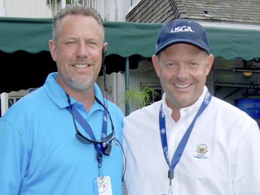 Chambersburg natives Mike Davis, right, and Steve Buterbaugh and have known each other since high school. The two played a large role in getting the U.S. Women's Open tournament to Lancaster Country Club. Davis is the executive director of the USGA and Buterbaugh is a prominent LCC member.