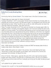 A screenshot of the original post shared in a Murfreesboro neighborhood group referencing possibly suspicious vehicles in the St. Andrews area of town. Murfreesboro Police are investigating.