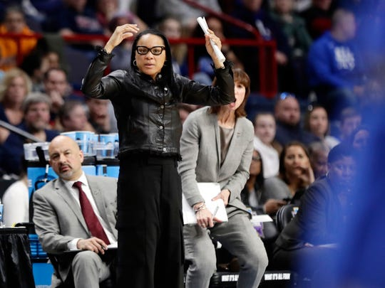 South Carolina head coach Dawn Staley reacts during the first half of a regional semifinal against Buffalo at the NCAA women's college basketball tournament Saturday, March 24, 2018, in Albany, N.Y. (AP Photo/Frank Franklin II)