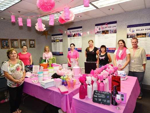 Pam Sowell, Bronwynn Hindman, Katie French, Tiffany Meredith, Leslie Lynch, Kim Cassel, Chelsea Welch and Nova McDavid at the American Cancer Society Pink Open House.For this story and more stories and photos, see the September issue of Pensacola Bella Magazine, and go to www.BellaMagazine.com