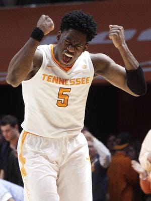 Tennessee forward Admiral Schofield reacts after the Vols took the lead in the second half against Kentucky last season at Thompson-Boling Arena.