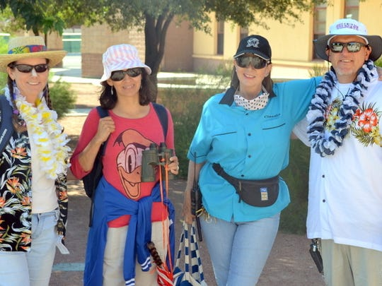"Deming High School administrators, from left, Jenean Garney, Jeannette Cox, Claudia Smith and Shane Coker were decked out in their Sunday best for ""Tacky Tourist Day."""