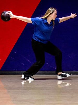 Lakewood sophomore, Madison Darnes, practices her bowling skills ahead of the  Division II state tournament.