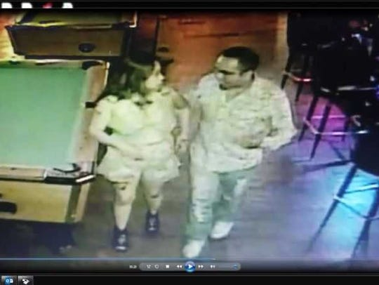 Cynthia Martinez is seen with Jaime Alvarez-Olivera leaving the the Tequila Nights Bar & Grill at approximately 2:35 a.m. on Sunday, July 16th.