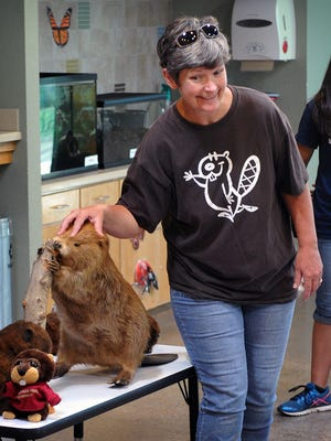 Lynn Seman of River Bend Nature Center conducts a presentation on mammals Monday morning on the first day of Crazy 'Bout Critters camp.