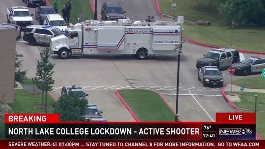 Police investigate a report of an active-shooter at North Lake Community College in Irving, Texas.