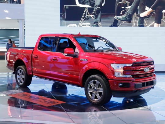 A 2018 Ford F-150 is displayed at the North American