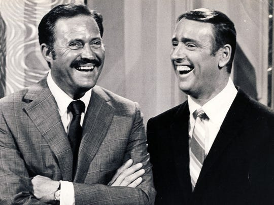 "Dan Rowan (left) and Dick Martin hosted NBC's ""Laugh-In,"" which first aired as a TV special on Sept. 9, 1967."