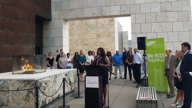 Vashti Rutledge speaks at the National Underground Railroad Freedom Center.