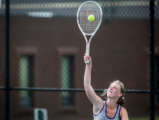 Central's Emma Kinney, shown here in the sectional last year, won in singles play to help the Bearcats edge Yorktown on Monday.