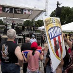 Supporters and bikers at a Rolling Thunder rally at the National Mall in Washington on Sunday listen to Republican presidential candidate Donald Trump speak.