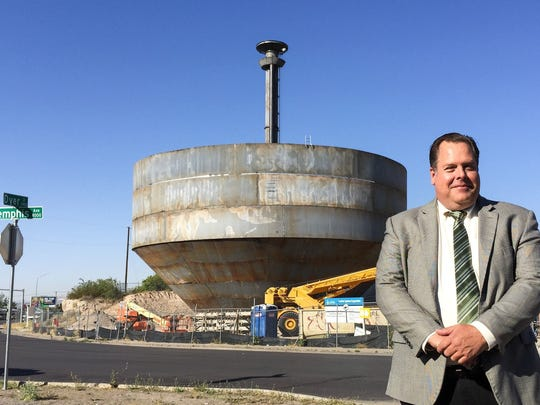 John Balliew, El Paso Water chief executive officer, stands near the Memphis Avenue water-storage tank under construction last September. Higher water rates will help pay for similar projects in 2018-2019, Balliew says.