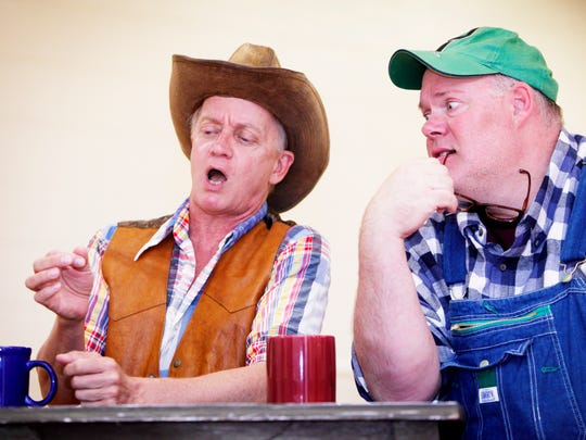 "Bryan Mercer, left, and Joel P. Rogers rehearse for a prior performance of ""Greater Tuna"" at the Southern Appalachian Repertory Theatre."