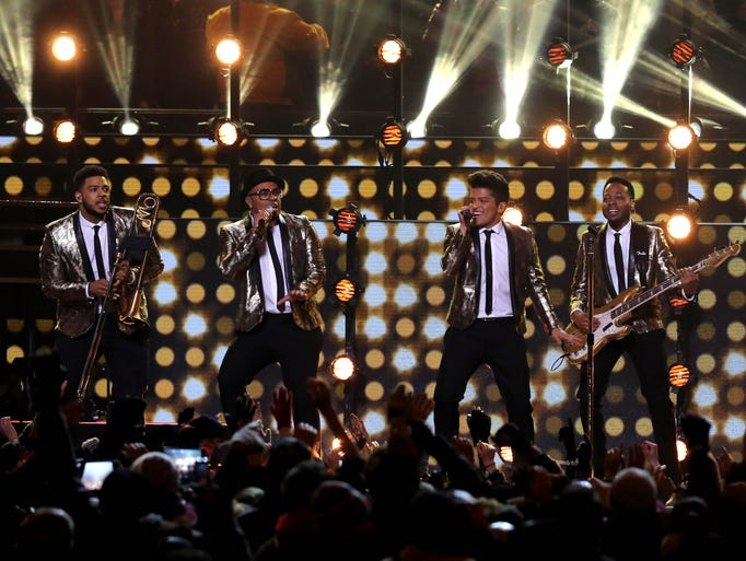 Recording artist Bruno Mars performs during the during the half time show in Super Bowl XLVIII at MetLife Stadium.