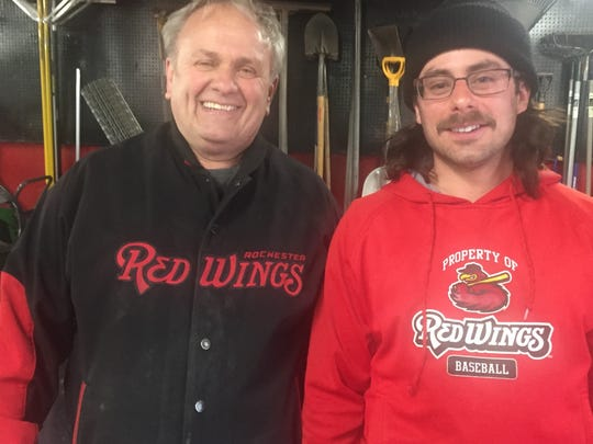 Gene and Geno Buonomo are Frontier Field's father-son groundskeeping team. Despite winter's strong grip, the field is green and ready for Friday's opener against Buffalo.